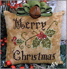 Primitive Merry Christmas Pillow by Abby Rose - click for more