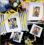 Birthday Girl and Boy Pillows & Matching Magnets from AB Designs - click for more
