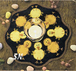 Little Stitchies #136 Chicks Candle Mat Pattern from Bareroots -- click to see more