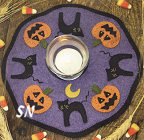Little Stitchies #150 Halloween Candle Mat Pattern from Bareroots -- click to see more