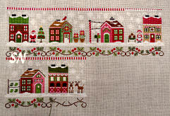 Deanna's model stitched over 1 of all of Santa's Village from Country Cottage Needleworks -- click to see more