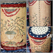 Flag & Flowers Tall Drum from Dames of the Needle