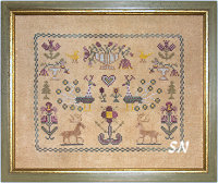 Flowers and Peacock Sampler from Dames of the Needle - click for more