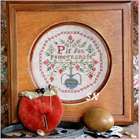 P is for Pomegranate from Heartstring Samplery - click for more