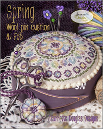Spring Wool Pin Cushion with Fob by Jeannette Douglas -- click to see more