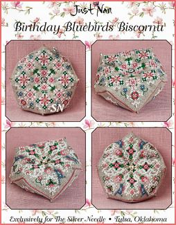 Birthday Bluebirds Biscornu from Just Nan - click for more