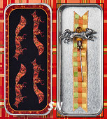 Silver Fox Charm Garden Pin & Fox Trot Needle Slide by Just Nan -- click to see more!