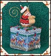 Tiny Reindeer Cube with Gingerbread Santa Mouse perched on top by Just Nan -- click to see more!