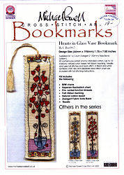 HEARTS in a Glass Vase Bookmark Kit from Michael Powell - click for more