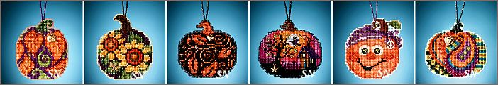 The 2020 Autumn Charmed Ornaments - Little Painted Pumpkins Kits from Mill Hill - click for more