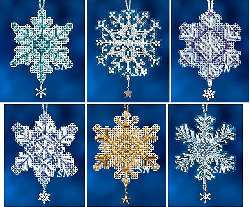 snow crystals mini ornament kits from mill hill click for more