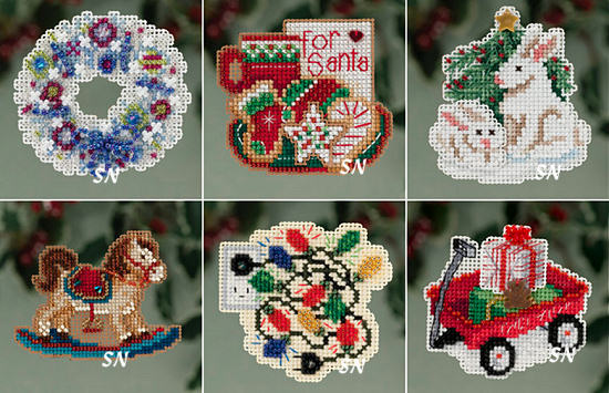 mill hills winter holiday mini ornament magnet kits for 2013 click for more - Cross Stitch Christmas Decorations