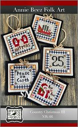 Country Christmas Ornaments 3 from Annie Beez Folk Art - click to see more
