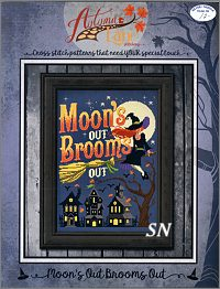 Moon's Out Brooms Out from Autumn Lane Stitchery - click to see more