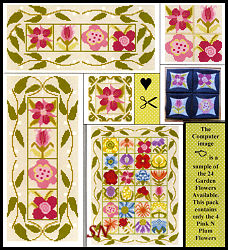 Stitch An Inch Garden Pink 'n Plum from By the Bay Needleart - click to see more