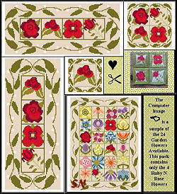 Stitch An Inch Garden Ruby 'N Rose from By the Bay Needleart - click to see more
