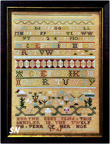 Martha Edes 1745 Boston Band Sampler from  Needlework Press - click for more
