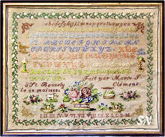 Marie T Clement 1868 Sampler by Reflets de Soie -- click to see more!