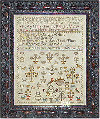 Antique Spring Sampler -- Ann Hobbs 1834 from Shakespeare's Peddler - click to see more
