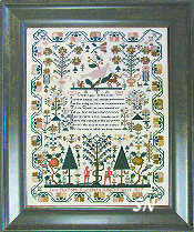 Jane Philpott 1837: An Adam & Eve Sampler from Shakespeare's Peddler - click to see more