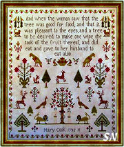 Mary Cook 1795 Sampler from Scarlett House - click for more