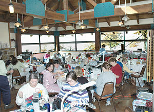 Cross Stitching at Camp Wannasew