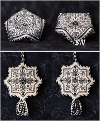 Blackwork Biscornu and Blackwork Fob from The Sweetheart Tree - click to see more