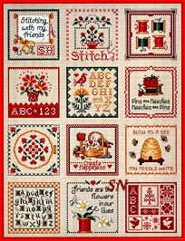 Keepsakes stitched altogether on one piece of fabric from Sue Hillis - click to see more