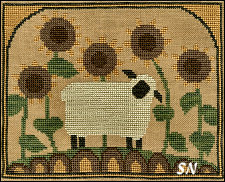 Sunflower Sheep in Cross Stitch from Teresa Kogut -- click to see more
