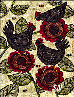 PN187 Bloomin Hens in punch needle from Teresa Kogut -- click to see more