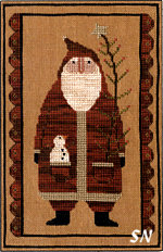 Primitive Santa in Cross Stitch from Teresa Kogut -- click to see more