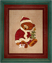 Santa Bear in cross stitch from Teresa Kogut -- click to see more