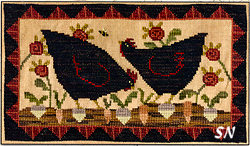 Hens in the Garden in cross stitch from Teresa Kogut -- click to see more