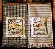 Homespun Towels 2: Yellow Warbler and House Sparrow from The Victoria Sampler - click for more